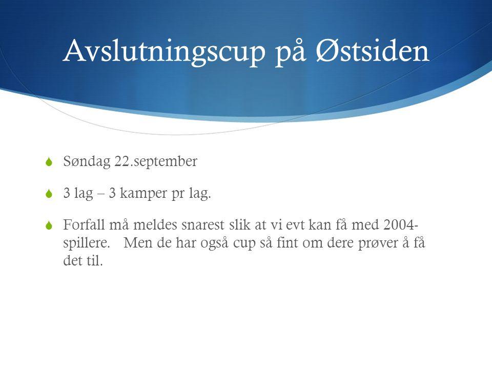 Avslutningscup på Østsiden  Søndag 22.september  3 lag – 3 kamper pr lag.