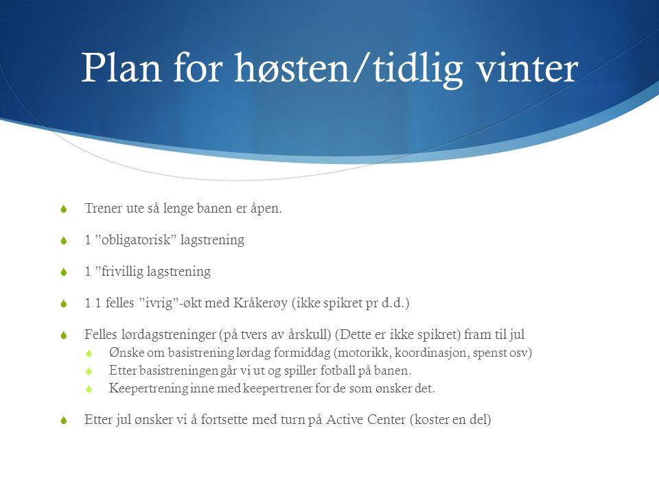 Plan for høsten/tidlig vinter  Trener ute så lenge banen er åpen.