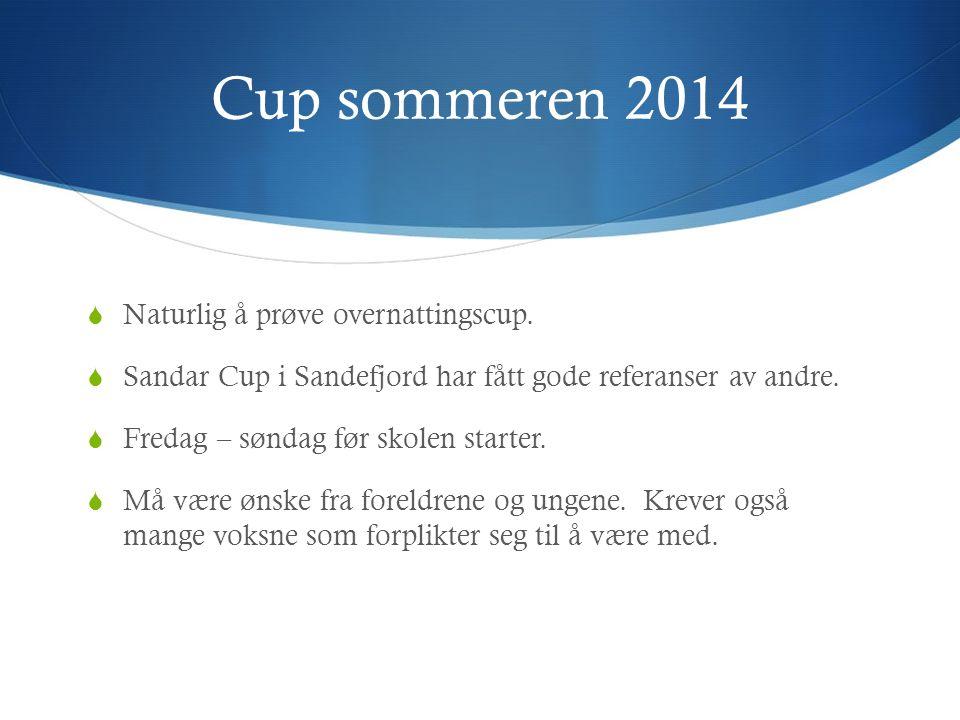 Cup sommeren 2014  Naturlig å prøve overnattingscup.