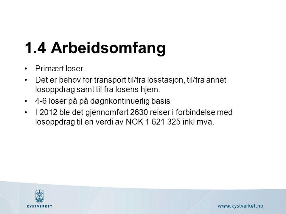 1.4 Arbeidsomfang Primært loser Det er behov for transport til/fra losstasjon, til/fra annet losoppdrag samt til fra losens hjem. 4-6 loser på på døgn
