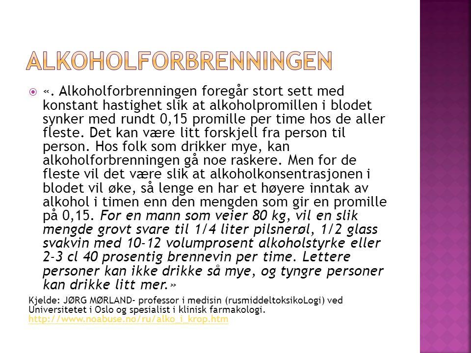  «. Alkoholforbrenningen foregår stort sett med konstant hastighet slik at alkoholpromillen i blodet synker med rundt 0,15 promille per time hos de a