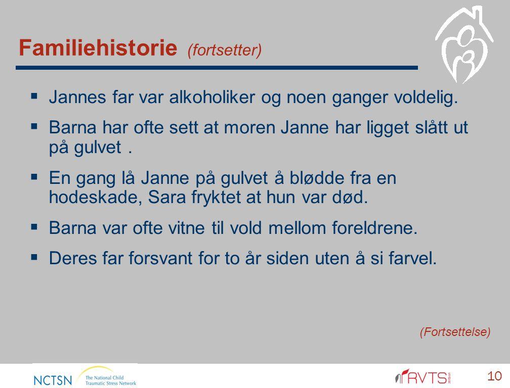 Familiehistorie (fortsetter)  Jannes far var alkoholiker og noen ganger voldelig.