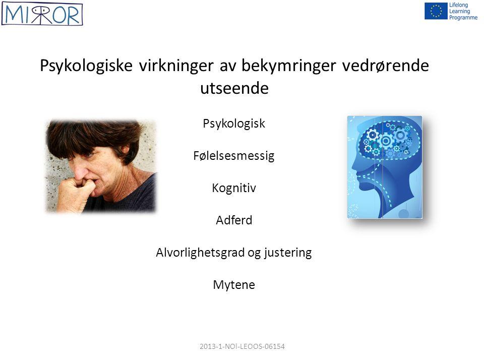 Psykologiske virkninger av bekymringer vedrørende utseende Psykologisk Følelsesmessig Kognitiv Adferd Alvorlighetsgrad og justering Mytene 2013-1-NOl-