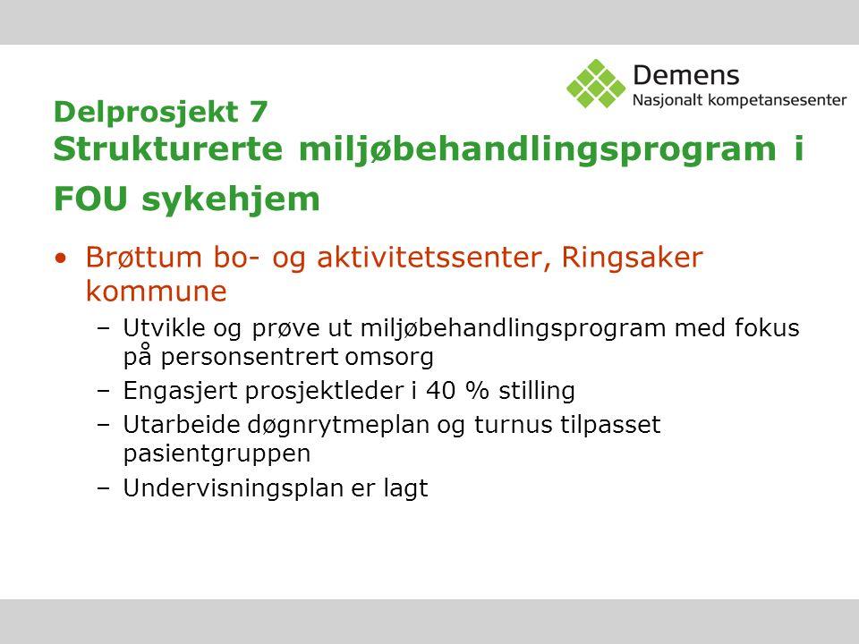 Delprosjekt 7 Strukturerte miljøbehandlingsprogram i FOU sykehjem Brøttum bo- og aktivitetssenter, Ringsaker kommune –Utvikle og prøve ut miljøbehandl