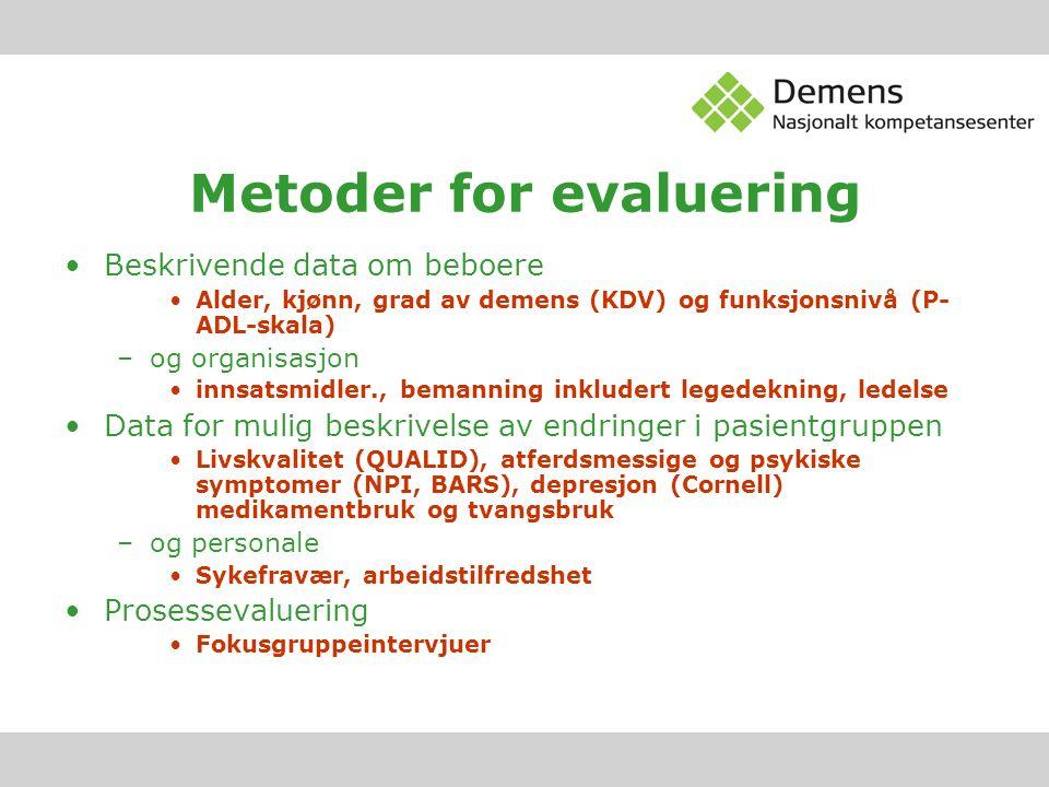Metoder for evaluering Beskrivende data om beboere Alder, kjønn, grad av demens (KDV) og funksjonsnivå (P- ADL-skala) –og organisasjon innsatsmidler.,