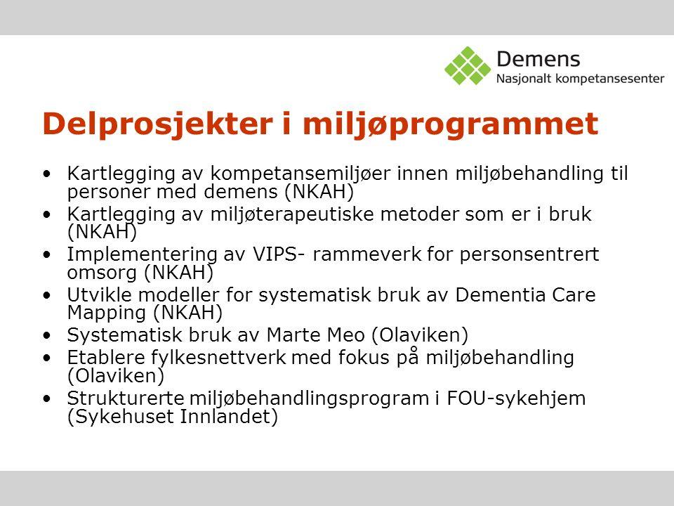 Delprosjekter i miljøprogrammet Kartlegging av kompetansemiljøer innen miljøbehandling til personer med demens (NKAH) Kartlegging av miljøterapeutiske metoder som er i bruk (NKAH) Implementering av VIPS- rammeverk for personsentrert omsorg (NKAH) Utvikle modeller for systematisk bruk av Dementia Care Mapping (NKAH) Systematisk bruk av Marte Meo (Olaviken) Etablere fylkesnettverk med fokus på miljøbehandling (Olaviken) Strukturerte miljøbehandlingsprogram i FOU-sykehjem (Sykehuset Innlandet)