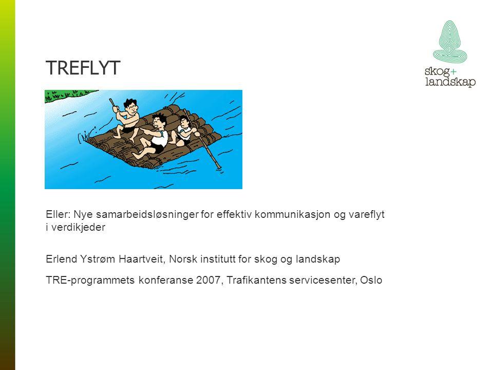 TREFLYT Eller: Nye samarbeidsløsninger for effektiv kommunikasjon og vareflyt i verdikjeder Erlend Ystrøm Haartveit, Norsk institutt for skog og landskap TRE-programmets konferanse 2007, Trafikantens servicesenter, Oslo