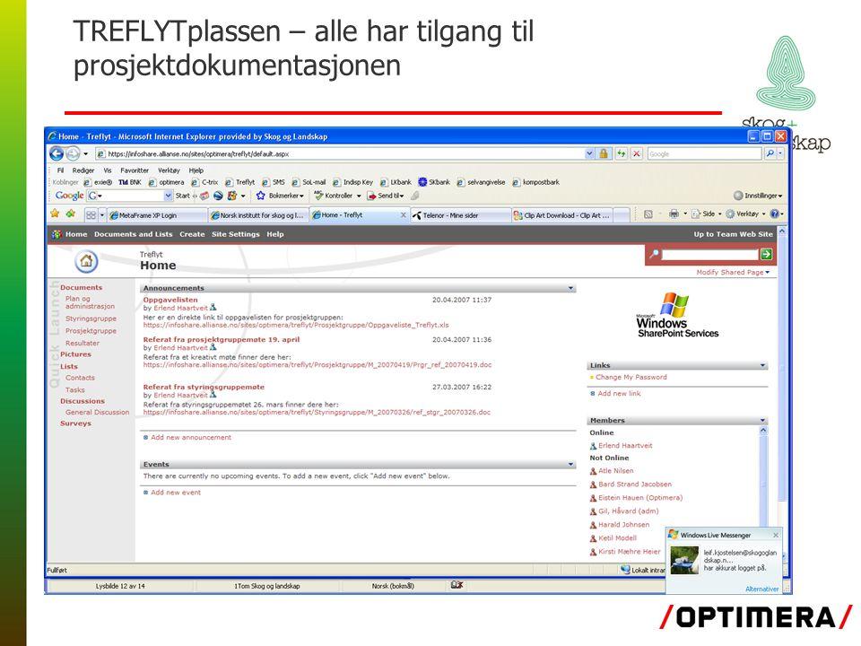 TREFLYTplassen – alle har tilgang til prosjektdokumentasjonen