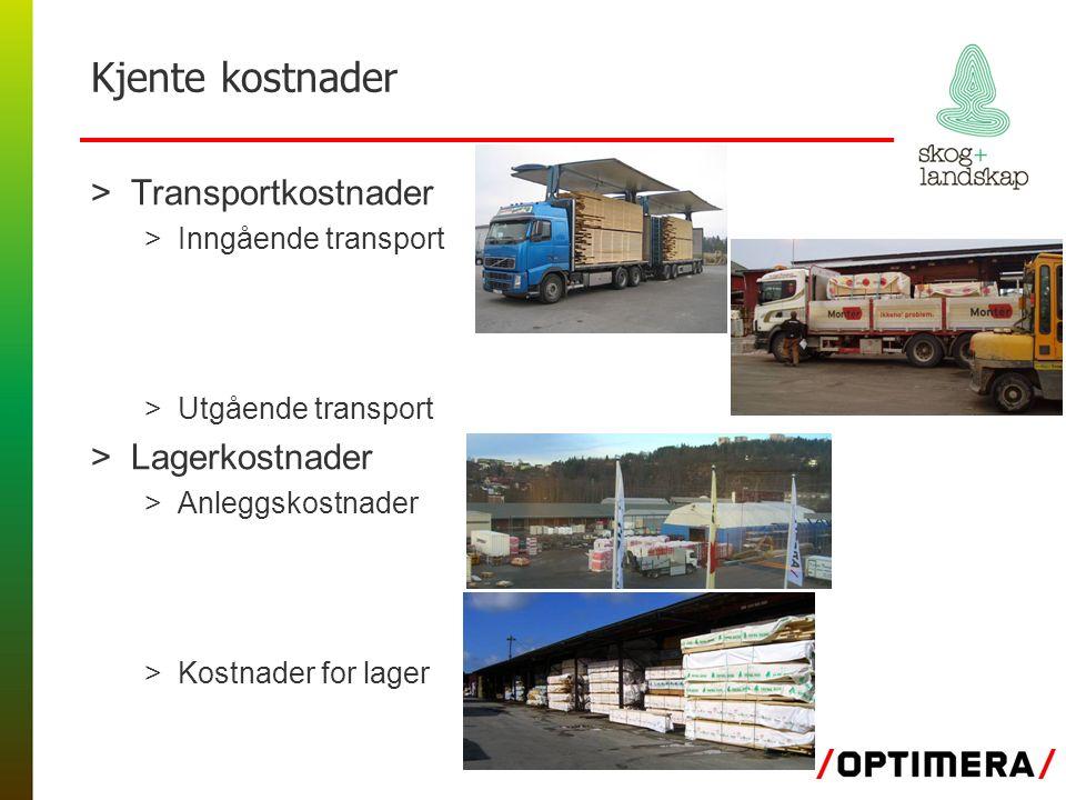 Kjente kostnader >Transportkostnader >Inngående transport >Utgående transport >Lagerkostnader >Anleggskostnader >Kostnader for lager