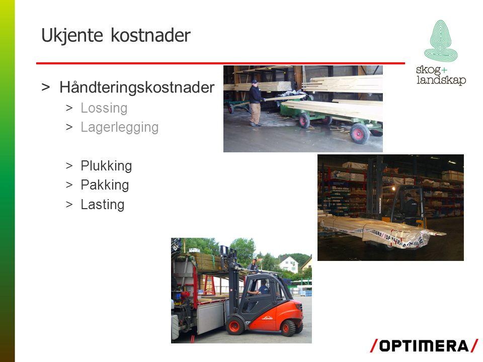 Ukjente kostnader >Håndteringskostnader >Lossing >Lagerlegging >Plukking >Pakking >Lasting