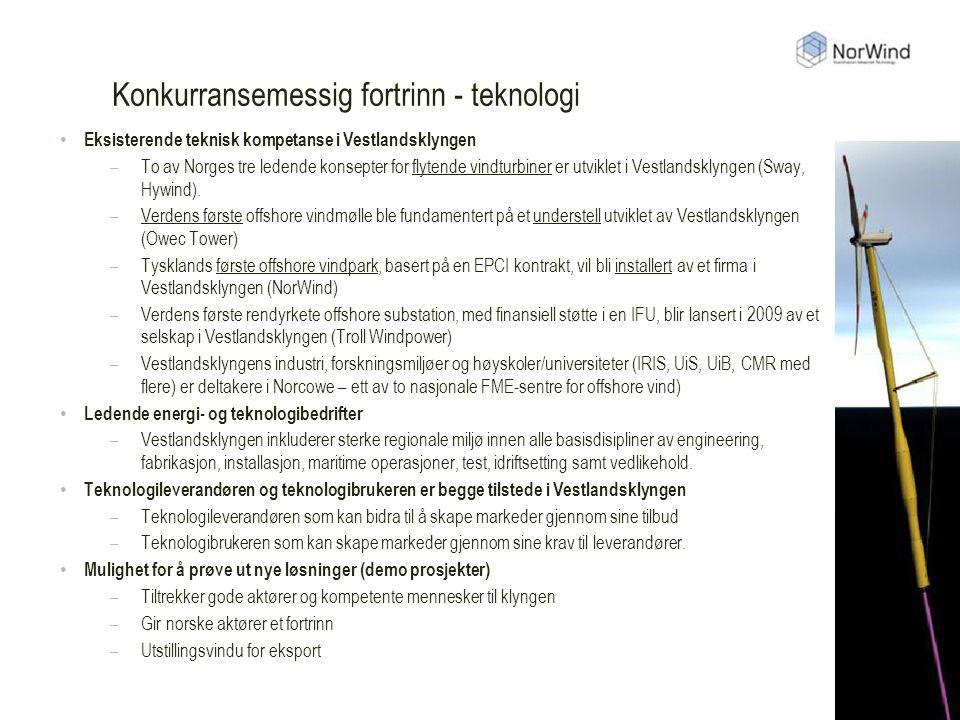 Konkurransemessig fortrinn - teknologi Eksisterende teknisk kompetanse i Vestlandsklyngen –To av Norges tre ledende konsepter for flytende vindturbiner er utviklet i Vestlandsklyngen (Sway, Hywind).