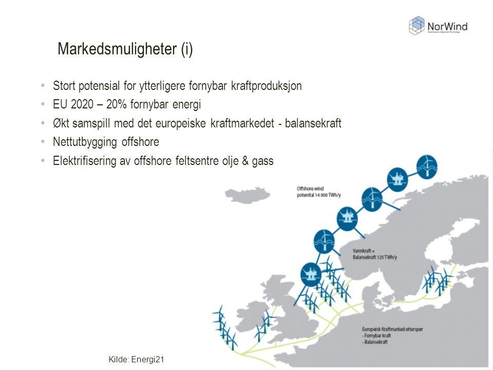 Markedsmuligheter (i) Kilde: Energi21 Stort potensial for ytterligere fornybar kraftproduksjon EU 2020 – 20% fornybar energi Økt samspill med det europeiske kraftmarkedet - balansekraft Nettutbygging offshore Elektrifisering av offshore feltsentre olje & gass