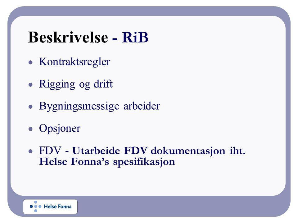Beskrivelse - RiB Kontraktsregler Rigging og drift Bygningsmessige arbeider Opsjoner FDV - Utarbeide FDV dokumentasjon iht.