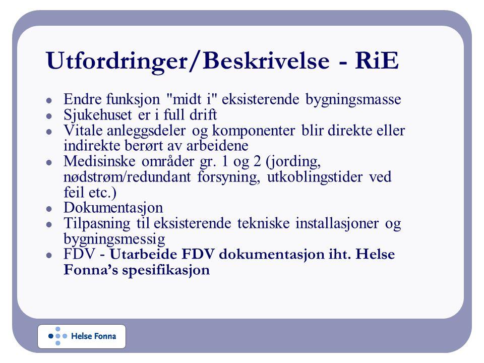 Utfordringer/Beskrivelse - RiE Endre funksjon midt i eksisterende bygningsmasse Sjukehuset er i full drift Vitale anleggsdeler og komponenter blir direkte eller indirekte berørt av arbeidene Medisinske områder gr.