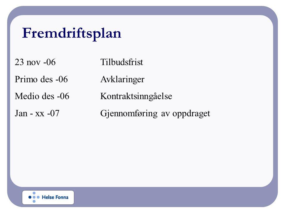 23 nov -06Tilbudsfrist Primo des -06Avklaringer Medio des -06Kontraktsinngåelse Jan - xx -07Gjennomføring av oppdraget Fremdriftsplan