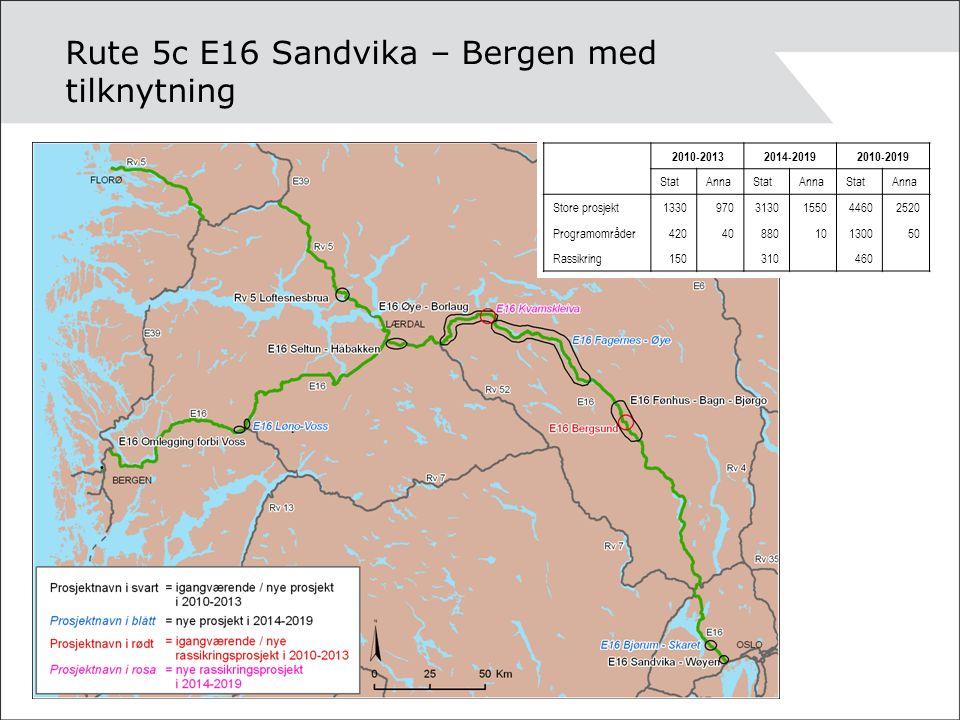 Rute 5c E16 Sandvika – Bergen med tilknytning 2010-20132014-20192010-2019 StatAnnaStatAnnaStatAnna Store prosjekt13309703130155044602520 Programområder4204088010130050 Rassikring150 310 460