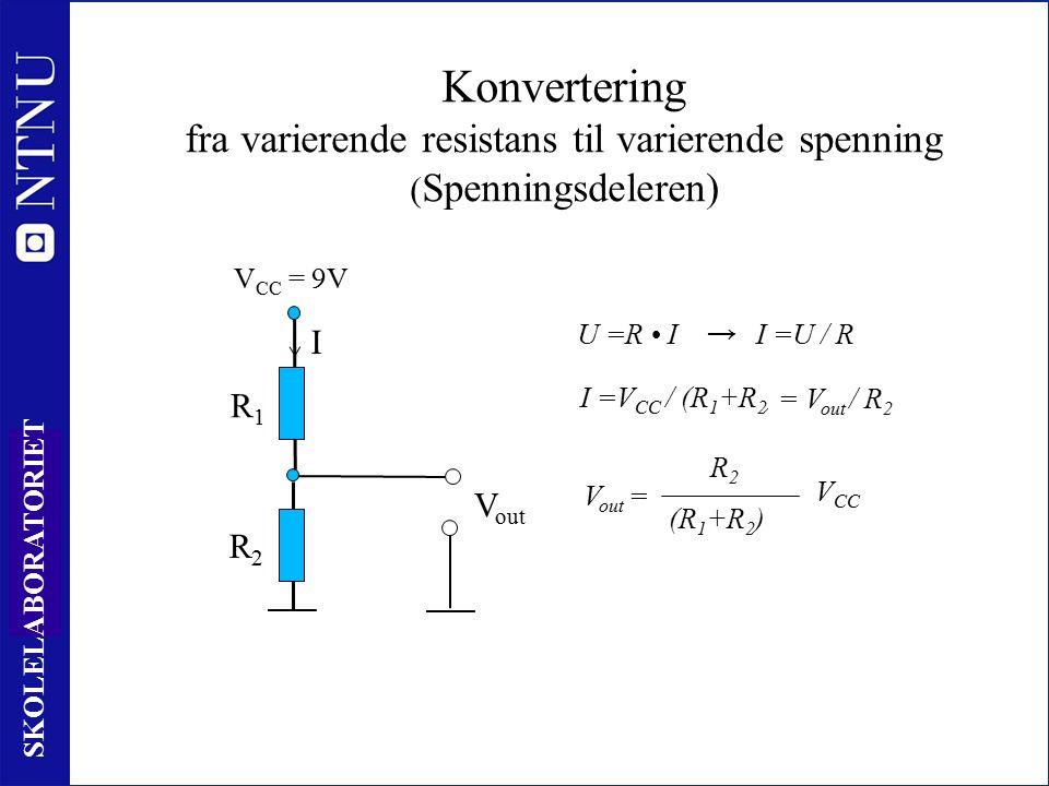11 SKOLELABORATORIET R2R2 Konvertering fra varierende resistans til varierende spenning ( Spenningsdeleren) R1R1 V CC = 9V I I =V CC / (R 1 +R 2 ) V out R2R2 (R 1 +R 2 ) V CC V out = U =R II =U / R → = V out / R 2