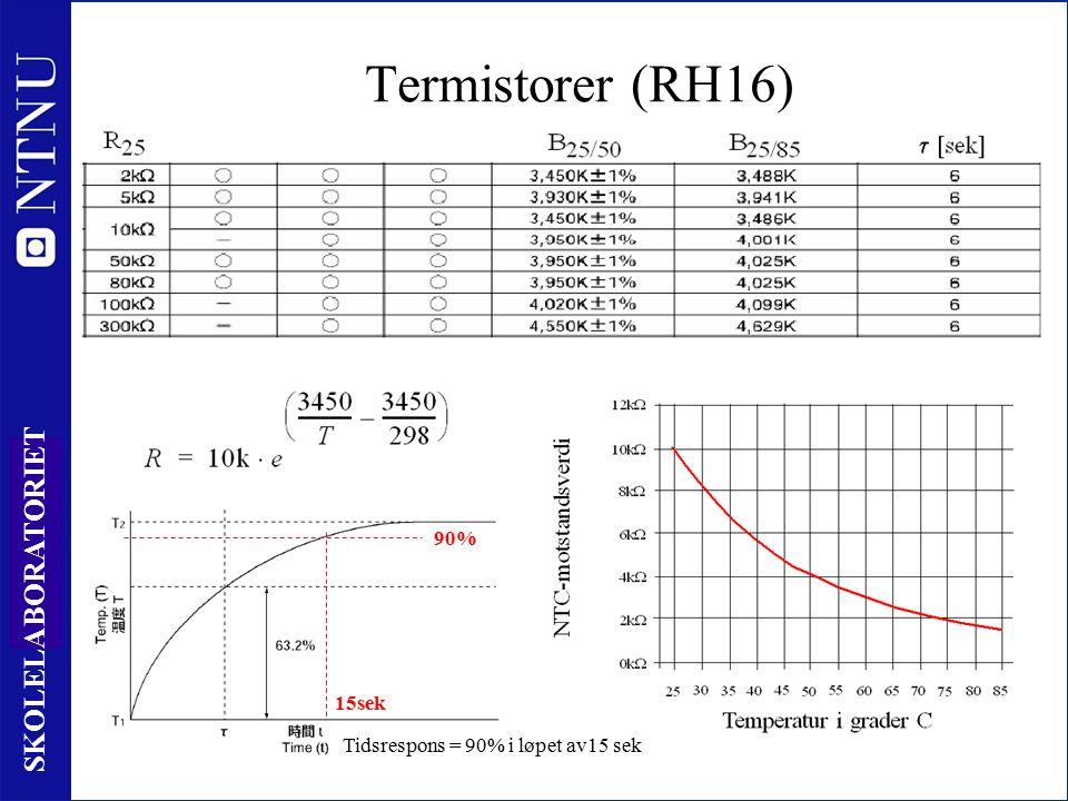 13 SKOLELABORATORIET Termistorer (RH16) Tidsrespons = 90% i løpet av15 sek 90% 15sek