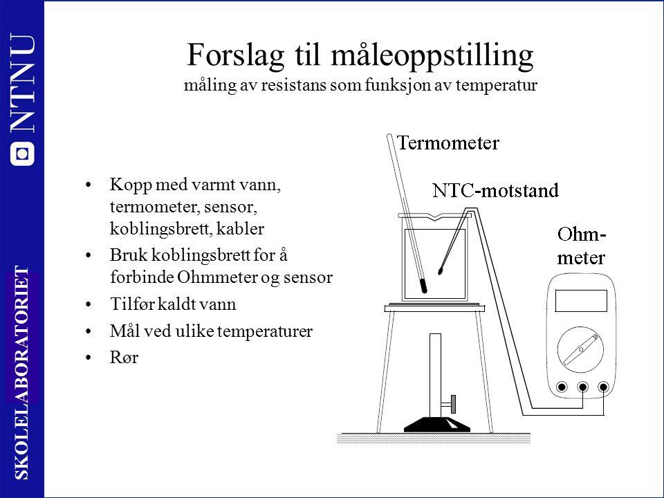 23 SKOLELABORATORIET Forslag til måleoppstilling måling av resistans som funksjon av temperatur Kopp med varmt vann, termometer, sensor, koblingsbrett, kabler Bruk koblingsbrett for å forbinde Ohmmeter og sensor Tilfør kaldt vann Mål ved ulike temperaturer Rør