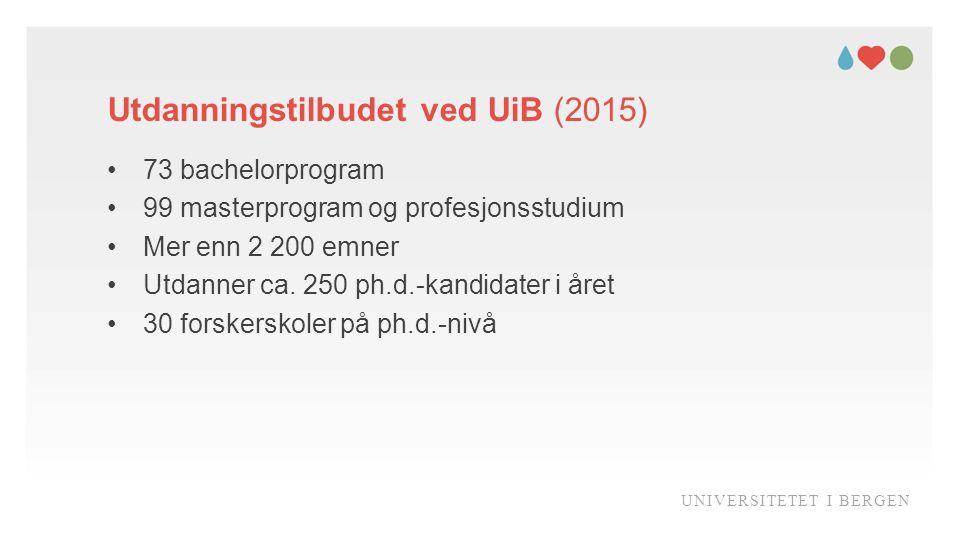 Utdanningstilbudet ved UiB (2015) UNIVERSITETET I BERGEN 73 bachelorprogram 99 masterprogram og profesjonsstudium Mer enn 2 200 emner Utdanner ca.
