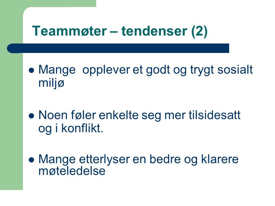 38 Teammøter – tendenser (2) Mange opplever et godt og trygt sosialt miljø Noen føler enkelte seg mer tilsidesatt og i konflikt.