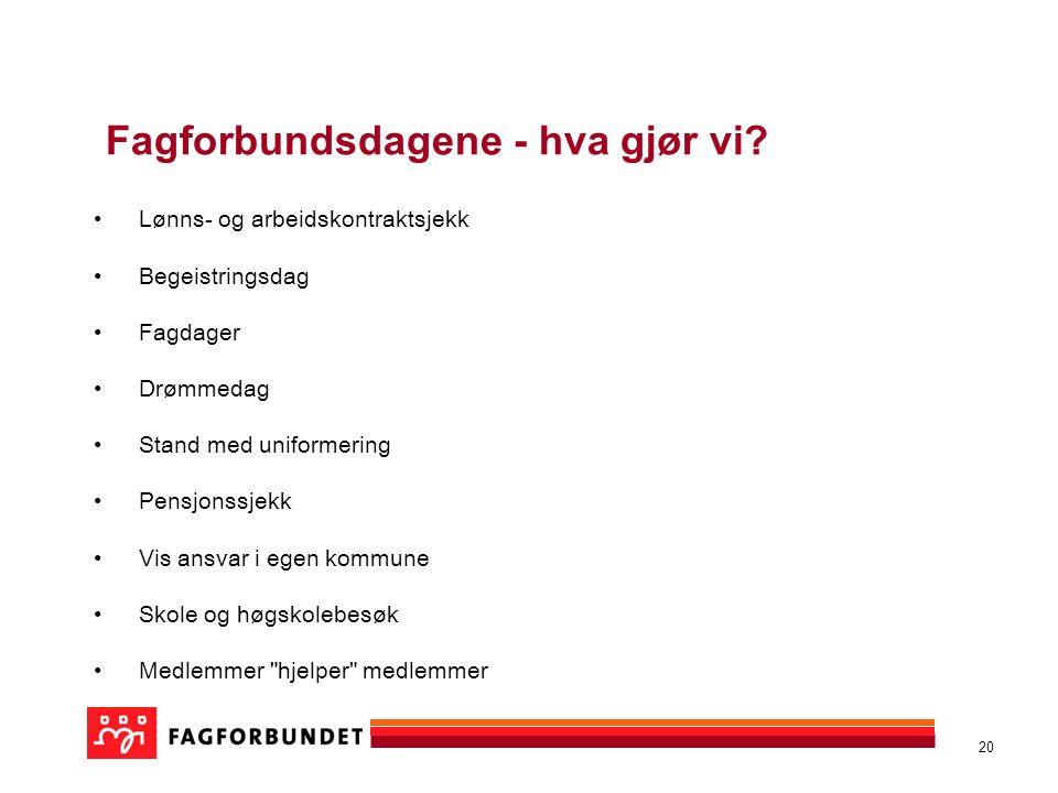 20 Fagforbundsdagene - hva gjør vi.