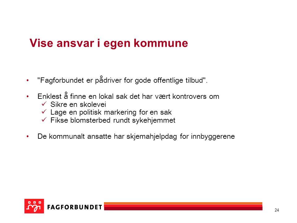 24 Vise ansvar i egen kommune Fagforbundet er p å driver for gode offentlige tilbud .