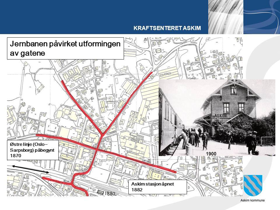 KRAFTSENTERET ASKIM Østre linje (Oslo – Sarpsborg) påbegynt 1870 Askim stasjon åpnet 1882 Jernbanen påvirket utformingen av gatene 1900