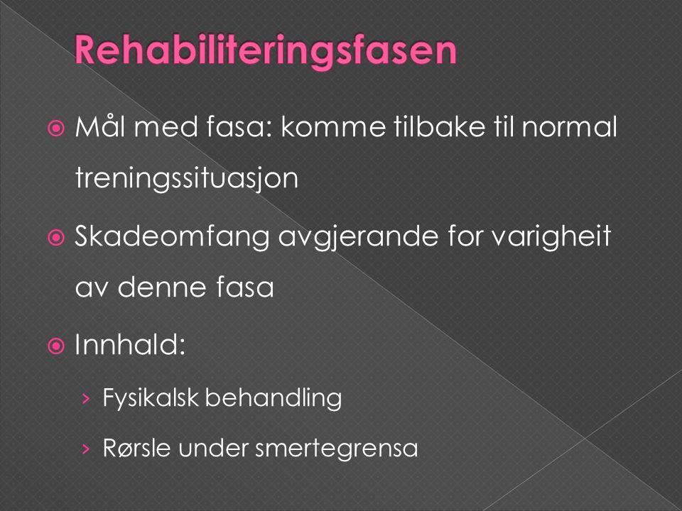  Mål med fasa: komme tilbake til normal treningssituasjon  Skadeomfang avgjerande for varigheit av denne fasa  Innhald: › Fysikalsk behandling › Rø