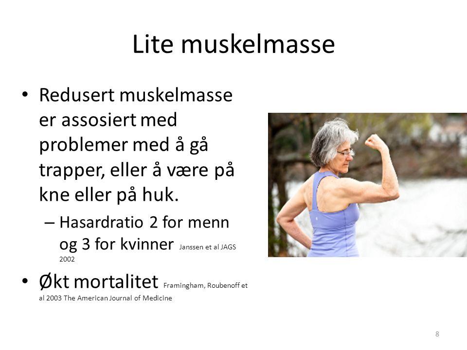 Lite muskelmasse Redusert muskelmasse er assosiert med problemer med å gå trapper, eller å være på kne eller på huk.