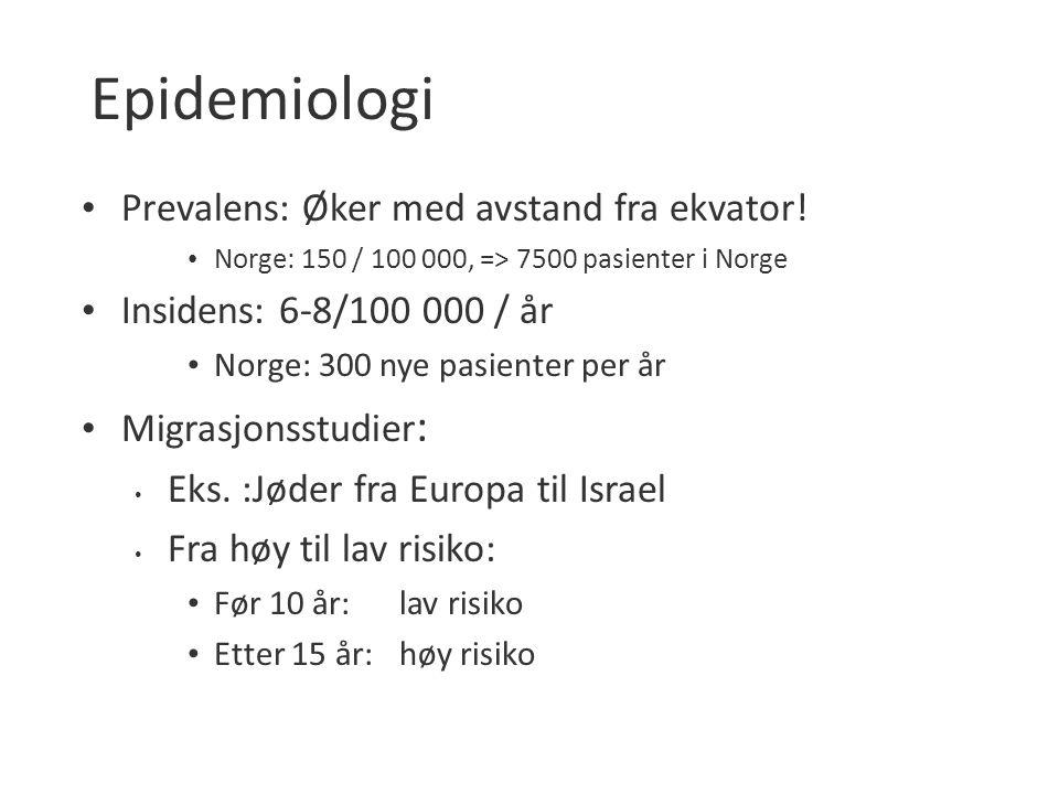 Epidemiologi Prevalens: Øker med avstand fra ekvator! Norge: 150 / 100 000, => 7500 pasienter i Norge Insidens: 6-8/100 000 / år Norge: 300 nye pasien