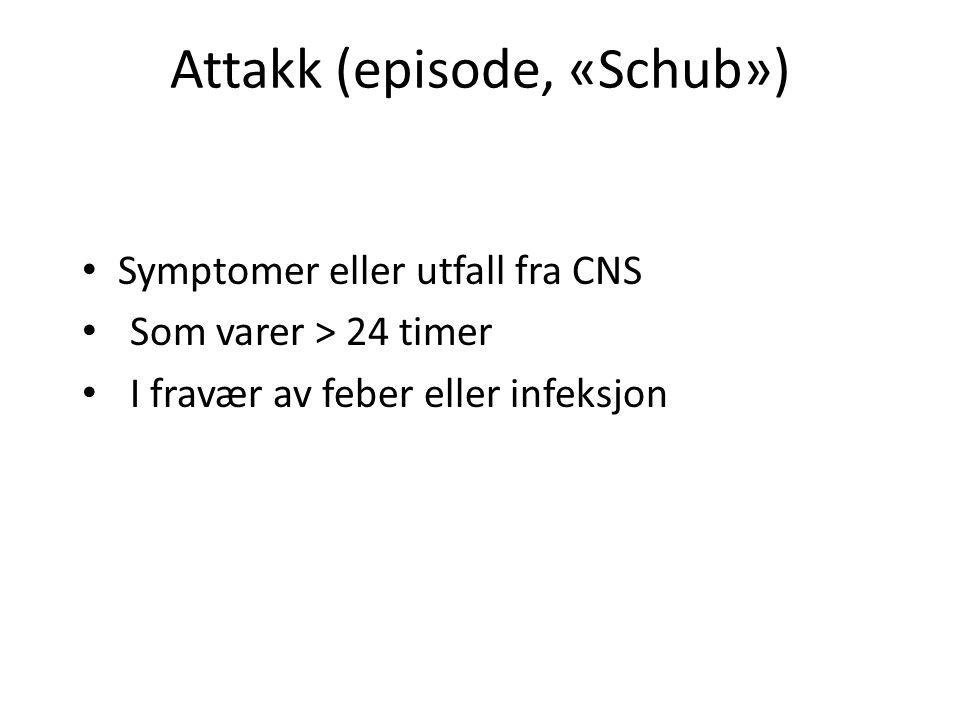 Attakk (episode, «Schub») Symptomer eller utfall fra CNS Som varer > 24 timer I fravær av feber eller infeksjon