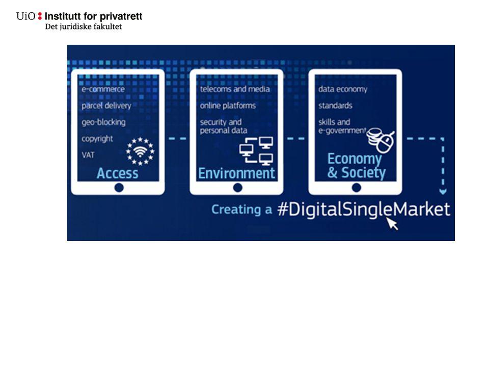 Nærmere informasjon http://ec.europa.eu/priorities/digital-single- market_enhttp://ec.europa.eu/priorities/digital-single- market_en Sentrale styringsdokumenter: –Kommisjonens meddelse 6.