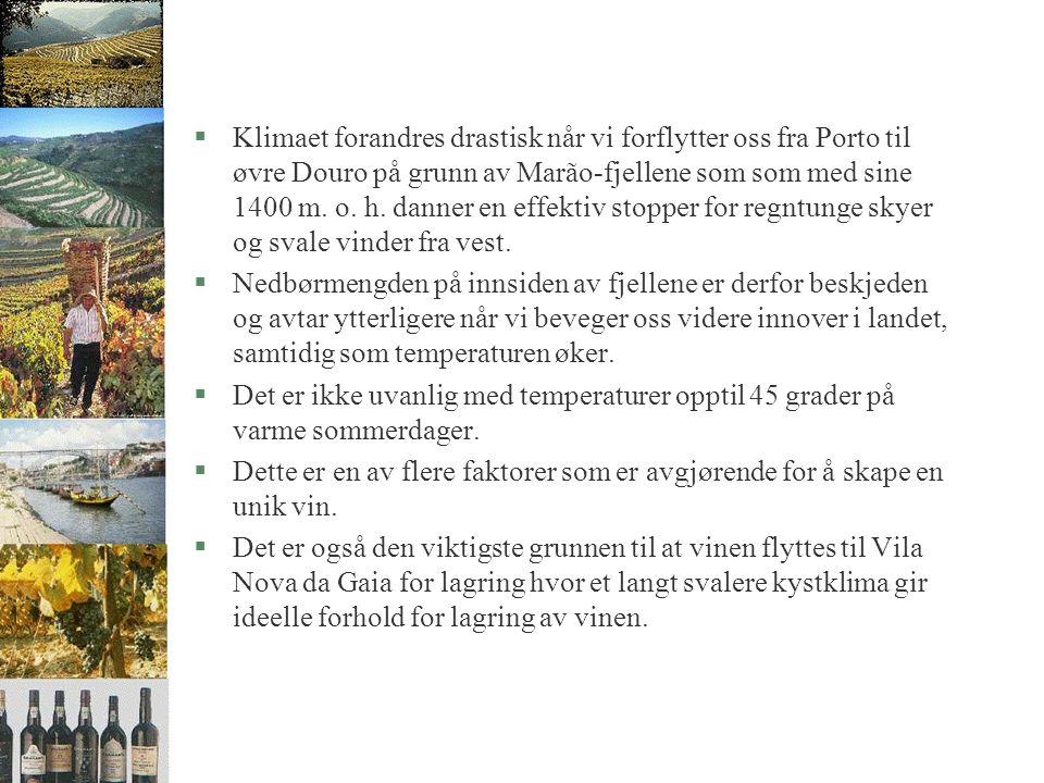 §Klimaet forandres drastisk når vi forflytter oss fra Porto til øvre Douro på grunn av Marão-fjellene som som med sine 1400 m.