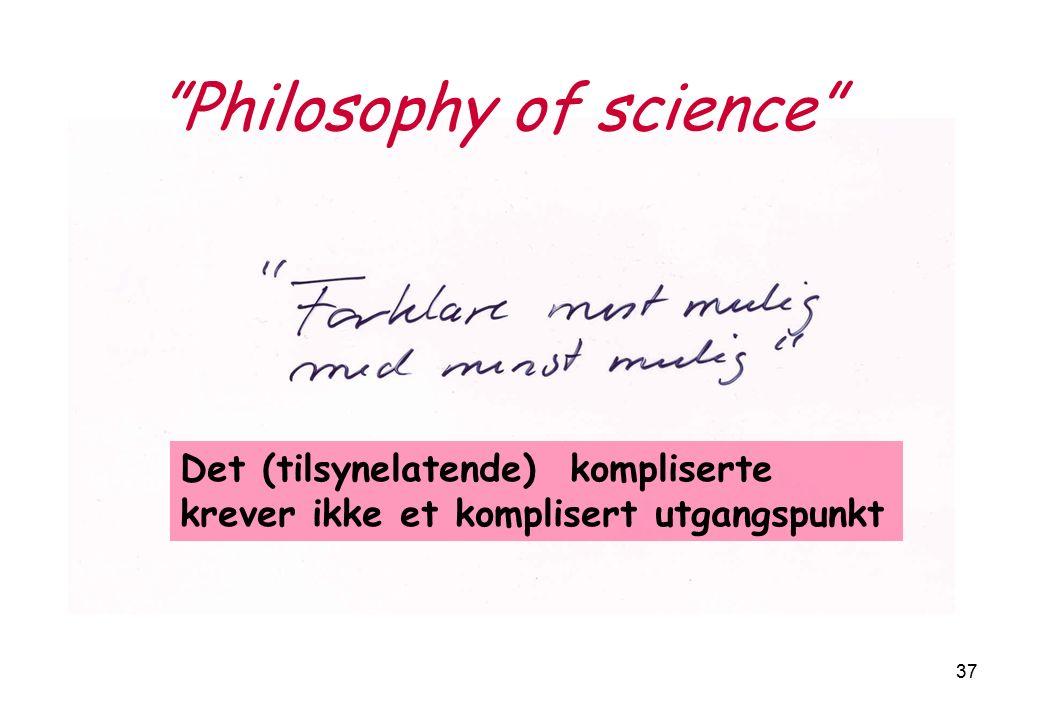 37 Philosophy of science Det (tilsynelatende) kompliserte krever ikke et komplisert utgangspunkt