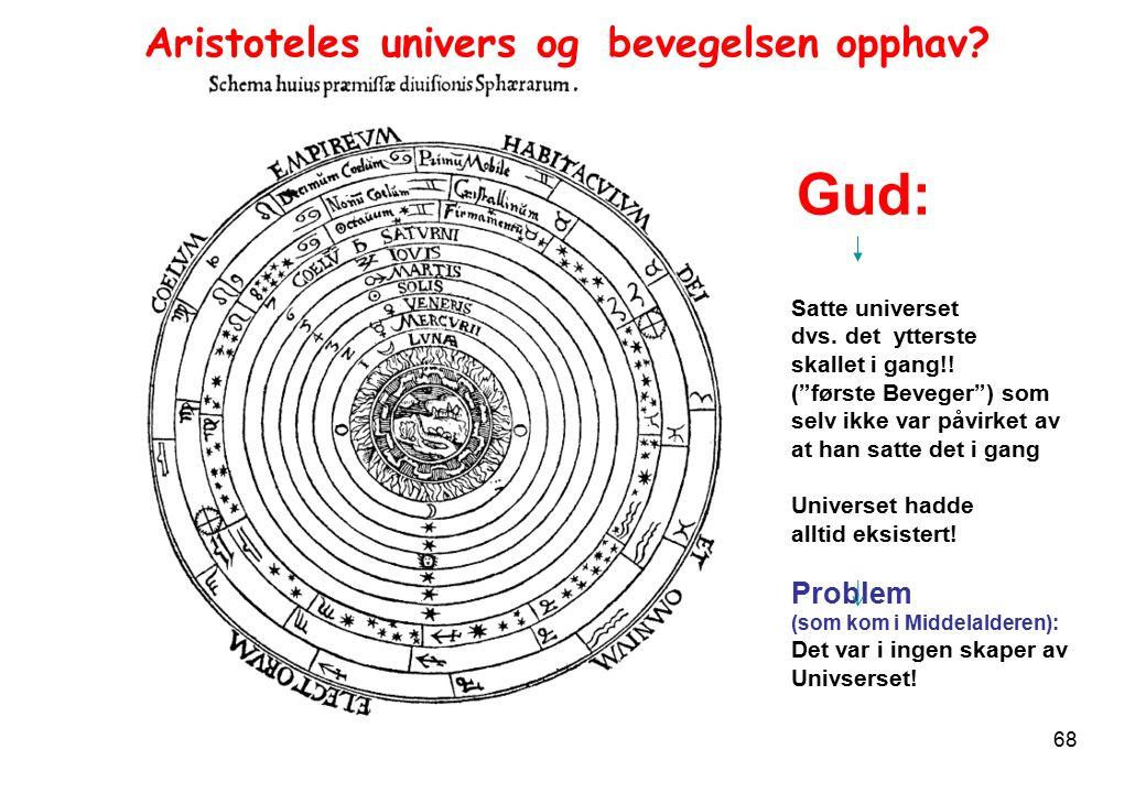 68 Aristoteles univers og bevegelsen opphav. Gud: Satte universet dvs.