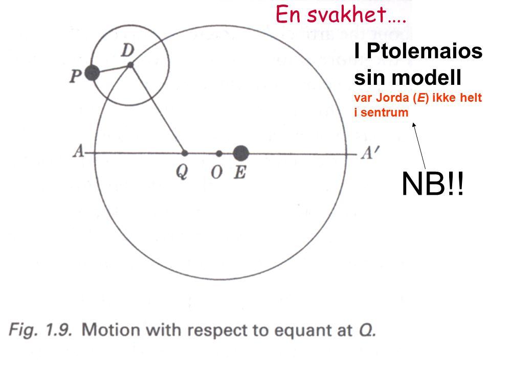 I Ptolemaios sin modell var Jorda (E) ikke helt i sentrum NB!! En svakhet….