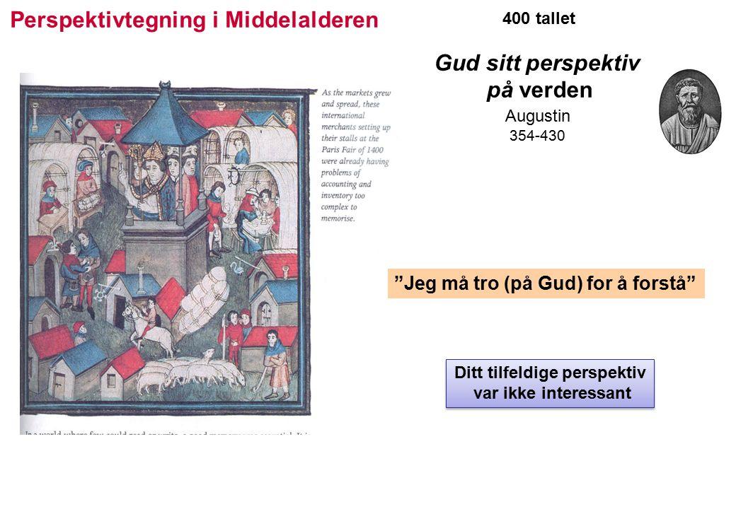 400 tallet Gud sitt perspektiv på verden Augustin 354-430 Jeg må tro (på Gud) for å forstå Perspektivtegning i Middelalderen Ditt tilfeldige perspektiv var ikke interessant Ditt tilfeldige perspektiv var ikke interessant
