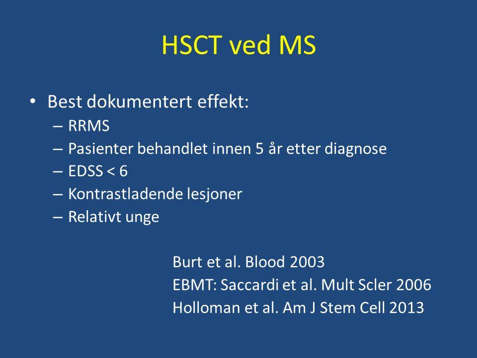 HSCT ved MS Best dokumentert effekt: – RRMS – Pasienter behandlet innen 5 år etter diagnose – EDSS < 6 – Kontrastladende lesjoner – Relativt unge Burt et al.