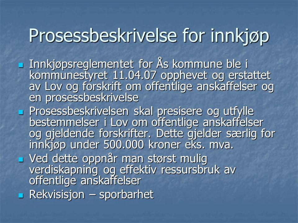 Prosessbeskrivelse for innkjøp Innkjøpsreglementet for Ås kommune ble i kommunestyret 11.04.07 opphevet og erstattet av Lov og forskrift om offentlige