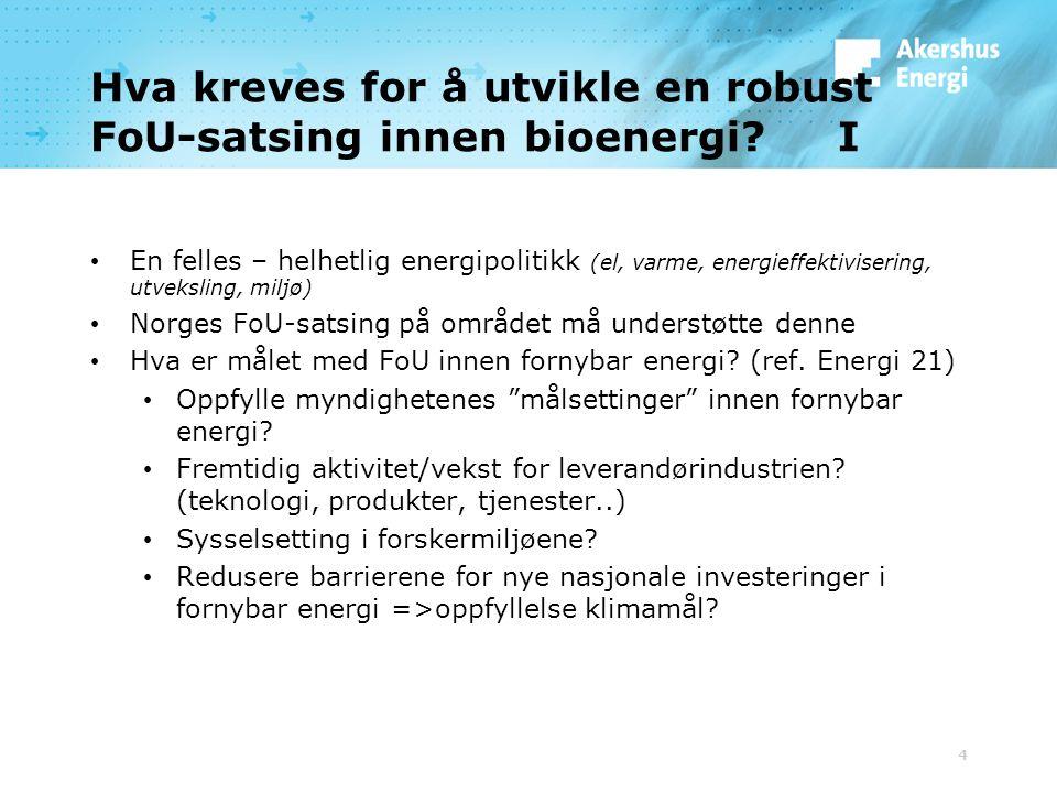 Hva kreves for å utvikle en robust FoU-satsing innen bioenergi.
