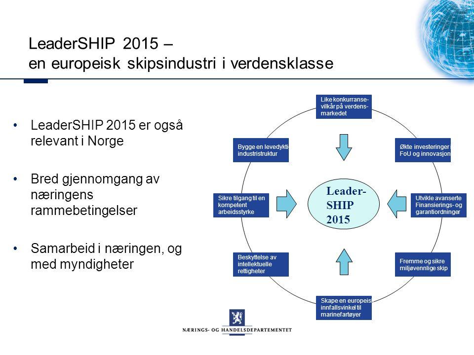 LeaderSHIP 2015 – en europeisk skipsindustri i verdensklasse LeaderSHIP 2015 er også relevant i Norge Bred gjennomgang av næringens rammebetingelser Samarbeid i næringen, og med myndigheter Leader- SHIP 2015 Like konkurranse- vilkår på verdens- markedet Økte investeringer i FoU og innovasjon Utvikle avanserte Finansierings- og garantiordninger Fremme og sikre miljøvennlige skip Skape en europeisk innfallsvinkel til marinefartøyer Beskyttelse av intellektuelle rettigheter Sikre tilgang til en kompetent arbeidsstyrke Bygge en levedyktig industristruktur