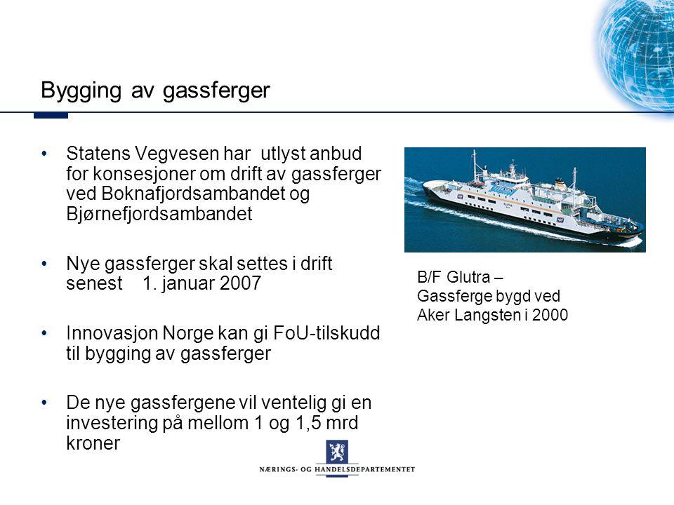Bygging av gassferger Statens Vegvesen har utlyst anbud for konsesjoner om drift av gassferger ved Boknafjordsambandet og Bjørnefjordsambandet Nye gassferger skal settes i drift senest 1.