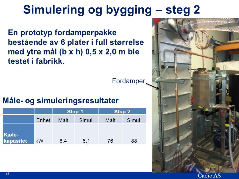 12 Cadio AS Simulering og bygging – steg 2 En prototyp fordamperpakke bestående av 6 plater i full størrelse med ytre mål (b x h) 0,5 x 2,0 m ble testet i fabrikk.