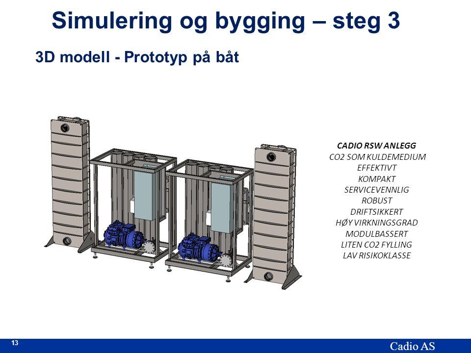 13 Cadio AS Simulering og bygging – steg 3 3D modell - Prototyp på båt CADIO RSW ANLEGG CO2 SOM KULDEMEDIUM EFFEKTIVT KOMPAKT SERVICEVENNLIG ROBUST DRIFTSIKKERT HØY VIRKNINGSGRAD MODULBASSERT LITEN CO2 FYLLING LAV RISIKOKLASSE