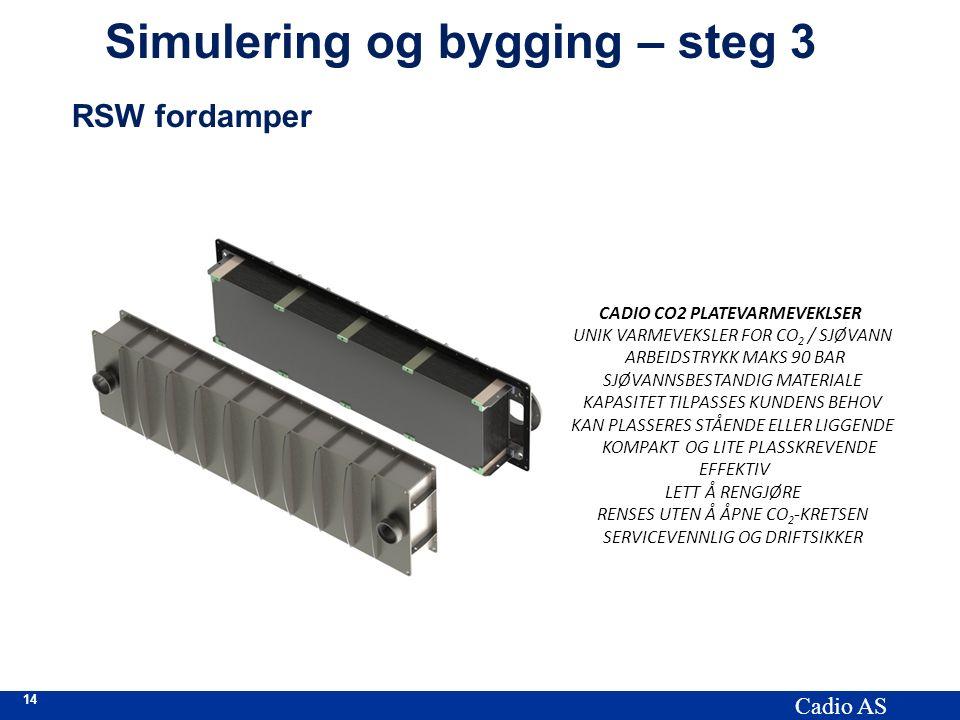 14 Cadio AS Simulering og bygging – steg 3 RSW fordamper CADIO CO2 PLATEVARMEVEKLSER UNIK VARMEVEKSLER FOR CO 2 / SJØVANN ARBEIDSTRYKK MAKS 90 BAR SJØ