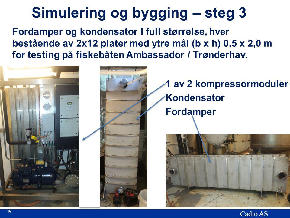 15 Cadio AS Simulering og bygging – steg 3 Fordamper og kondensator I full størrelse, hver bestående av 2x12 plater med ytre mål (b x h) 0,5 x 2,0 m for testing på fiskebåten Ambassador / Trønderhav.