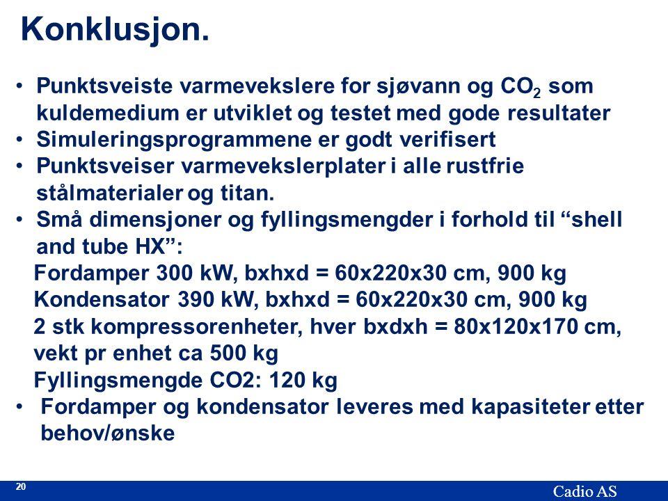 20 Cadio AS Konklusjon. Punktsveiste varmevekslere for sjøvann og CO 2 som kuldemedium er utviklet og testet med gode resultater Simuleringsprogrammen