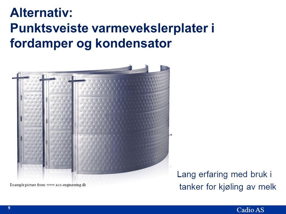 9 Cadio AS Alternativ: Punktsveiste varmevekslerplater i fordamper og kondensator Lang erfaring med bruk i tanker for kjøling av melk Example picture from: www.aco-engineering.dk