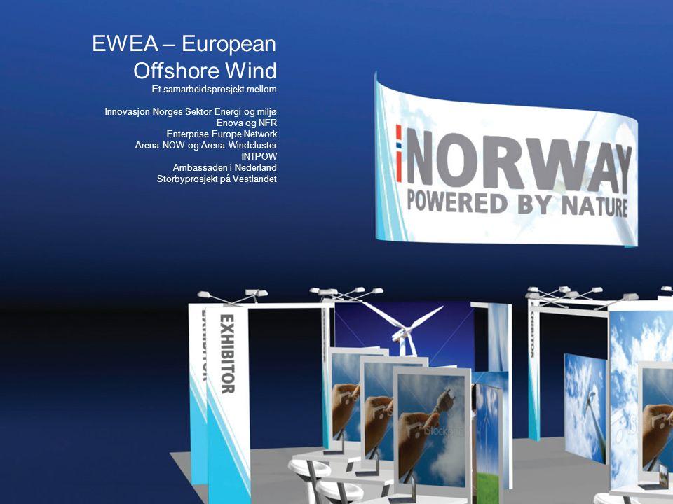 EWEA – European Offshore Wind Et samarbeidsprosjekt mellom Innovasjon Norges Sektor Energi og miljø Enova og NFR Enterprise Europe Network Arena NOW og Arena Windcluster INTPOW Ambassaden i Nederland Storbyprosjekt på Vestlandet